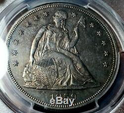 1859 $1 Proof Liberty Seated Dollar No Motto PCGS UNC DET Rare Coin #S14