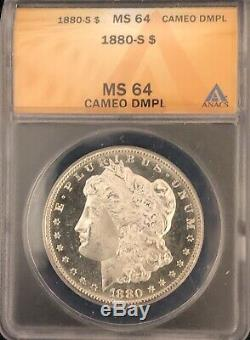 1880-S Morgan Dollar ANACS MS64 CAMEO DMPL Deep Mirrors Proof Like Pretty Coin