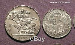 1902 KING EDWARD VII MATT PROOF SILVER SET COINS Crown to Maundy Penny