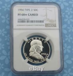 1956 NGC Proof 68 Star & Cameo Franklin Silver Half Dollar, PF 68 Star Cam Coin