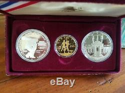 1983 & 1984 US Gold & Silver Olympic 3-Coin Proof Set Almost 1/2 Ounce Gold
