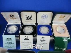 1985 1993 $10 Australian Silver Proof Coin. 1 Lot Of 9 Coins