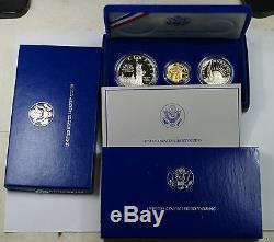 1986 Liberty 3 Coin Proof Commemorative Set Gold $5 Silver $1 & 50c US Mint