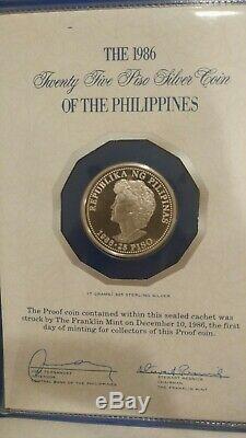 1986 Philippines 25 Piso Proof Sterling Silver Coin Aquino Reagan Visit