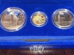 1986 Us Statue Of Liberty 3 Coin Commemorative Proof Set Gold Silver
