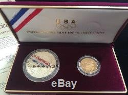 1988 Olympic Five Dollar Gold & Silver Dollar Proof Coin Set Certificate