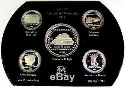 1993 Silver Mexico Cultura Veracruz 5 Coin Precolombina 5 & 10 Pesos Proof Set