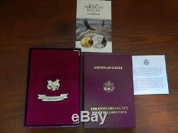 1995 American Eagle 10th Anniversary SET Proof GOLD SILVER Coins with/Box & COA