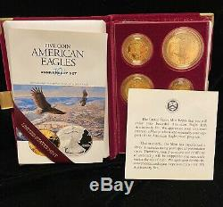 1995-W 10th Anniversary 5 Coin Proof Gold & Silver American Eagle Set withCOA