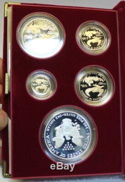 1995-W American Eagle 10th Anniversary 5 Coin Gold & Silver Proof Set COA