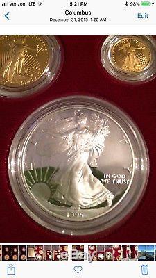 1995-w Eagle 10th Anniversary Five Coin Set Gold & Silver & Box & Coa Complete