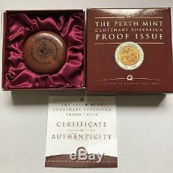 1999 $100 Perth Mint Centenary Sovereign Proof Issue Gold & Silver Bi-Metal Coin