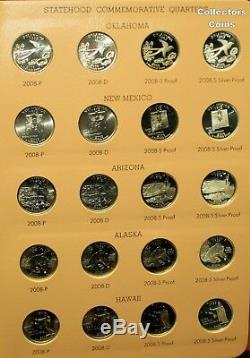 1999-2008 +2009 224 Coin State Quarter PDSS Set wSilver Proofs & 2 Dansco Albums