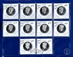 1999 2008 Silver Proof Kennedy Half Dollar Set-10 Coins- 1999 through 2008