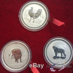 1999-2010 Australia Silver Lunar I Complete Set 12 Coins 1 Oz Presentation Box