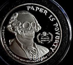 1 Oz 999 Silver Coin Ghost Money Proof Paper Is Poverty Jefferson illuminati Eye