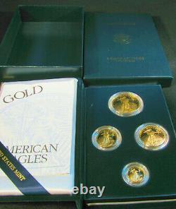 2000 W American Gold Eagle 4 Coin Proof Set w Box COA Platinum Silver Palladium