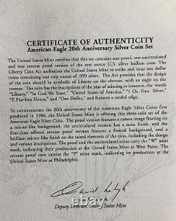 2006 W, P $1 20th Anniversary 3 Coin American Silver Eagle Set PR, Rev PR, BR