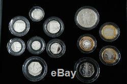 2009 Royal Mint Silver Proof 12 Coin Set. Includes Box CoA & Kew Gardens 50p