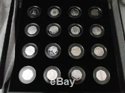 2009 silver proof 50p Fifty Pence set 16 coins inc. Kew rare cased COA FREE pp