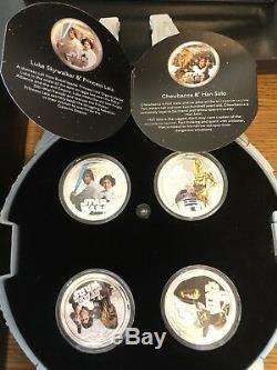 2011 $2 Star Wars Proof Silver 4 Coin Set Millenium Falcon Set New Zealand Mint