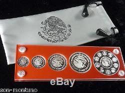 2011 Mexico Silver LIBERTAD 5 coin PROOF SET in Holder 1 Oz + all fractionals
