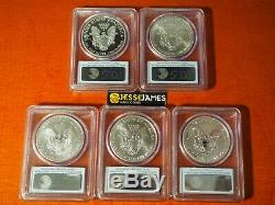 2011 P Reverse Proof Silver Eagle Pcgs Pr69 Ms69 5 Coin 25th Anniversary Set