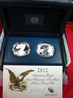 2012 S REVERSE PROOF SILVER EAGLE 2 COIN SAN FRANCISCO SET w BOX & COA AC