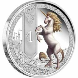 2013 Tuvalu Mythical Creatures UNICORN 1oz Silver Proof Coin Perth Mint