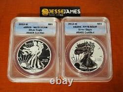 2013 W Reverse Proof Silver Eagle Anacs Rp70 Eu70 2 Coin West Point Set