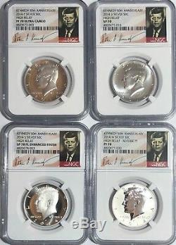 2014 Ngc Sp Pf70 Pl 50th Anniversary Kennedy Half Dollar 4 Coin Set Rev Enhanced