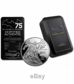 2014 Niue $5 Fine Silver Proof Coin DC Comics 75th of Batman 2 Oz