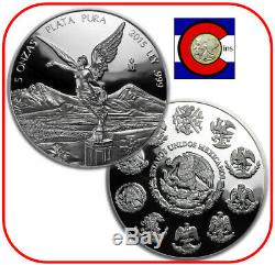 2015 Mexico 5 oz Silver Proof Libertad Coin in Mint capsule