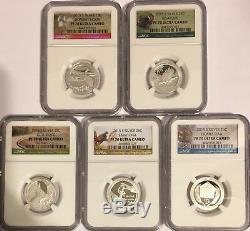 2015 S Proof Silver 5 Coin Quarter Set Ngc Pf70 Atb National Parks Ultra Cameo