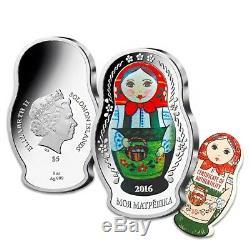 2016 1 oz Silver Solomon Islands Proof Russian Matryoshka Doll $5 Coin. 999 Fine