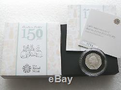 2016 Beatrix Potter Piedfort 50p Fifty Pence Silver Proof Coin Box Coa