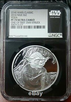 2016 Niue $2 Star Wars Yoda Proof 1 oz. 999 Silver Coin NGC PF 70 UCAM bce