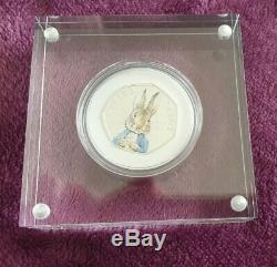 2016 Peter Rabbit 150th Anniversary Beatrix Potter 50p Silver Proof Coin Mint