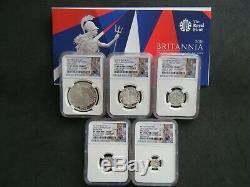 2016 Royal Mint Britannia Silver Proof 5 Coin Set NGC PF69 Ultra Cameo with COA