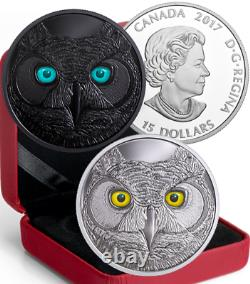 2017 Eyes Great Horned Owl $15 Pure Silver Proof Coin Canada Glow-in-Dark