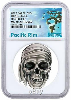 2017 Palau Pirate Skull High Relief 1 oz Silver Proof $5 Coin NGC MS70 SKU50439