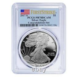2017-S 1 oz Proof Silver American Eagle Congratulations Set PCGS PF 70 FS