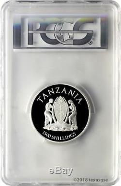 2018 1500 Shilling Tanzania African Lion 2oz Silver Proof Coin PCGS PR70DCAM FD