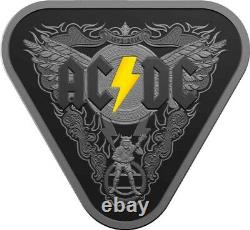 2018 $5 AC/DC 45 Years of Thunder SILVER Nickel Plated Triangular Proof Coin