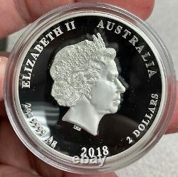 2018 Australia $2 Dragon & Tiger High Relief 2 oz Silver Proof Coin 1,500 Made
