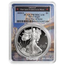 2018-S Proof $1 American Silver Eagle PCGS PR70DCAM FDOI San Francisco Frame