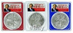 2018 W Burnished Silver Eagle 3 Coin Set PCGS SP70 Donald Trump Red White Blue