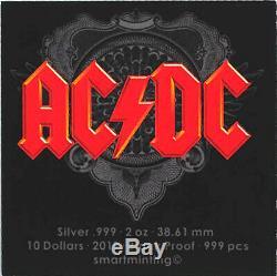 2019 $10 Cook Islands AC/DC The Razors Edge Black Proof Silver Coin PR70DCAM FDI