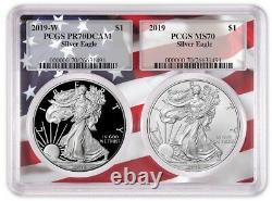 2019 1oz Silver Eagle Two Coin Set PCGS PR70 MS70 Flag Frame