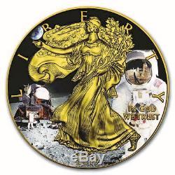 2019 3oz 50th Anniv APOLLO 11 Colorized Silver Eagle 999 Coin/Bar Set Box/COA